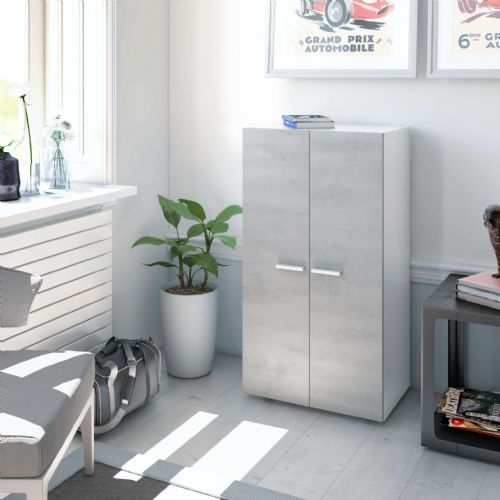 Zuldy Grey and White Shoe Cupboard - 2962